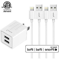 2.1A Dual USB Wall Charger And 2-Pack 5-Feet Apple MFi Certi