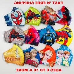 2/3 PACK KIDS Face Mask HERO/PRINCESS Polyester Fabric 3-Fly