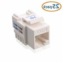 Cable Matters 25 Pack, Cat6 RJ-45 Keystone Jack in White
