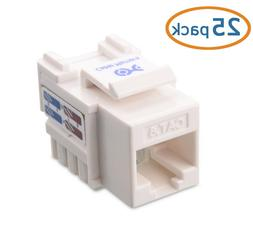 Cable Matters 25-Pack Cat6 RJ45 Keystone Jack in White With