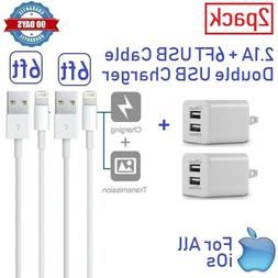 2Pack  Wall charger Cube + 6ft USB cable for iphone 5,5s,6,6