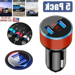 5-PACK Car Charger 5V/3.1A Quick Charge Dual USB Port Cigare