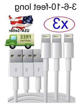 3 Pack 3/6/10Ft USB Cable Heavy Duty For Iphone 7/8 plus 6 5