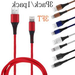 3 Pack 3 Ft USB Cable Heavy Duty For Iphone X 8 7 plus 6 5 C