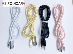 3 Pack 3Ft Braided Heavy Duty Usb Cable Charging Cord For Ip