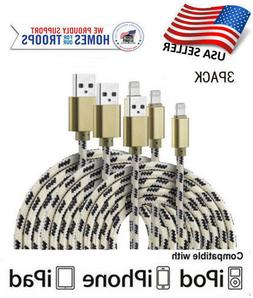 3 Pack iPhone Charge Sync Cable USB Heavy Duty 5 6 7 8 Plus