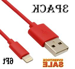 3 PACK USB Charger Cable 6Ft / 2M compatible with Lightning