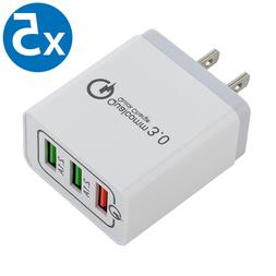 30W 3-Port USB Wall Charger with Dual Quick Charge 3.0 Ports