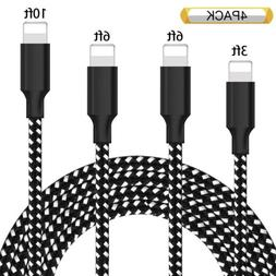 4 Pack Braided Fast Charger Sync Data Lightning USB Cord Cab