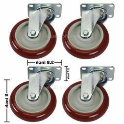 4 Pack 5 Inch 5'' Caster Wheels Swivel Plate Casters Polyure