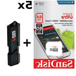 5 PACK - SanDisk Ultra 64GB MicroSD XC Class 10 UHS-1 Mobile