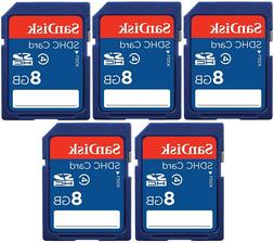 5 Pack of SanDisk 8GB SDHC Class 4 SD Flash Memory Card Came