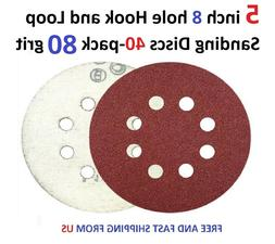 5 inch 8 hole Hook and Loop Sanding Discs 40-pack 80 grit