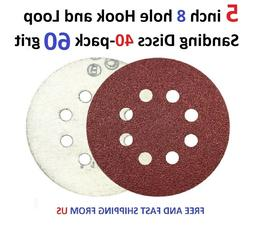 5 inch 8 hole Hook and Loop Sanding Discs 40-pack 60 grit