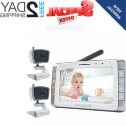 "MoonyBaby 5"" Large LCD Two Cameras Pack Video Baby Monitor L"