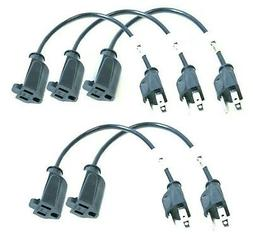 Pack 1 foot short extension cord patch 1' for power strips