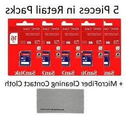 5 Pack SanDisk 16 GB Class 4 SD HC Flash Memory Card Retail