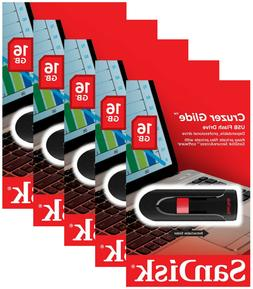 5 Pack SanDisk 16GB Cruzer Glide USB 2.0 Flash Drive SDCZ60-