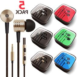 5-PACK 3.5mm HiFi Super Bass Headset In-Ear Earphone Stereo