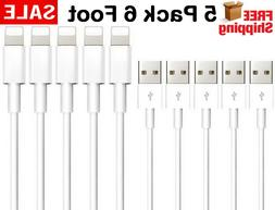 5 Pack 6 Foot Apple MFi Certified Lightning Charger Cable Fo