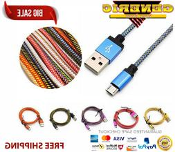 5 pack 6ft metal braided Fast charging micro usb charger cor