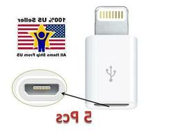 5 Pack 8Pin for Apple Lightning to Micro USB Adapter fits iP