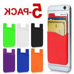 5-PACK Adhesive Silicone Credit Card Pocket Sticker Pouch Ho