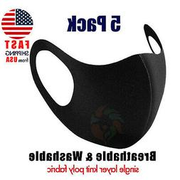 Black Face Mask Breathable Washable 1 Layer Cloth Fabric Mo