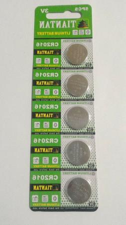 5 Pack CR2016 3v Lithium Batteries Coin Cell 90mAh Tiantan