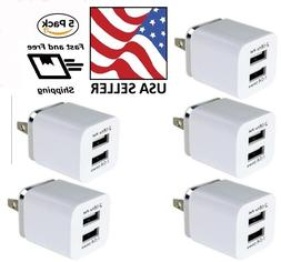 5 Pack Dual USB Wall Charger 2100mA Power Adapter AC Univers