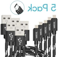 5 Pack USB C Cables Fast Charger Type C Data Sync for Samsun