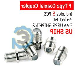 5-Pack F Type Coax Coaxial Cable Coupler Female Jack Adapter