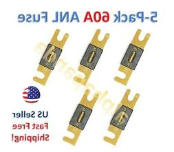 5-Pack Gold Plated 60 Amp 60A Car Stereo Audio ANL Blade Fus