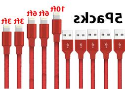 5-Pack Lightning Cable Nylon Braided For iPhone 8 7 6 Plus X