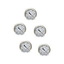 5 pack liquid filled pressure gauge 0