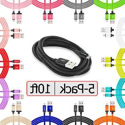 5-Pack Long 10FT Micro Charging Charger Cable for Samsung LG