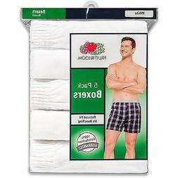 5-Pack Fruit of the Loom Men's Classic White Boxers,  S, M,