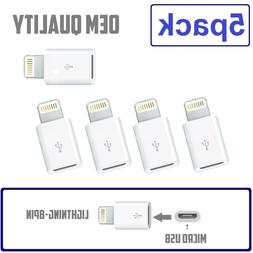 5 Pack Micro USB to 8-Pin for Apple Lightning Adapter fits i