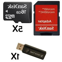 5 Pack - MicroSD Card 16GB SanDIsk HC Memory Card w/ Card Re