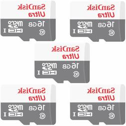5 PACK NEW SanDisk Ultra 16GB Micro SD SDHC UHS-1 80MB/s Cla
