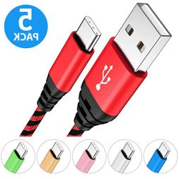 5-PACK Nylon Braided USB-C 3.1 Type-C Data Sync FAST Charger