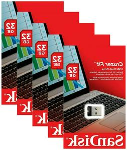 5 Pack of SanDisk 32GB Cruzer FIT USB 2.0 Flash Mini Micro P