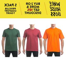 5 PACK PROCLUB PRO CLUB MEN'S COMFORT SHORT SLEEVE T-SHIRTS