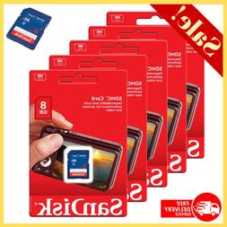 5 Pack SD Cards Sandisk 8GB SDHC Class 4 Flash Memory For Mo