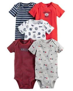 5-Pack Short-Sleeve Original Bodysuits Red Half Pint Sports
