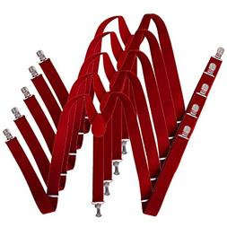 HDE 5 Pack Solid Color Straight Y-Back Clip Suspenders - 1 I