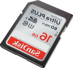 5 Pack SanDisk Ultra Plus 16GB SD C10 SDHC Flash Memory TF C