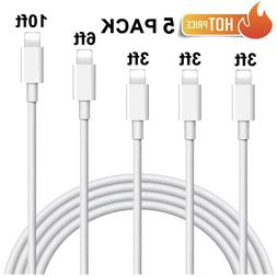 5 Pack USB Lightning Cable Charger Cord For Apple iPhone X 1