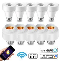 5 Pack WiFi Smart Light Bulb Socket Adapter E27 E26 W/ Googl