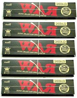 5 Packs Raw Black King Size Slim Rolling Papers Natural Unre
